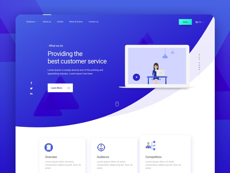 Best Customer Service_ Landing page icons illustration interactive mockups macbook creative trending popular bluegreen landingpage web