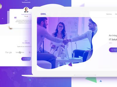Crn. fluidicdesign shapes uigradientstyles macbookpro mockups creative trending popular purpleblue solutionsprovider website uiux