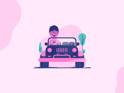 Riding a Jeep minimal art simplestyle dualcolors pink purple violet green jeep character illustration colors