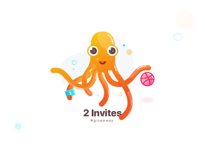2 Invites_ Giveaway colors octopus trending popular shots recent invitations invites dribbble