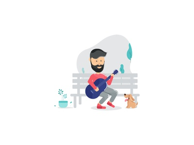A Man Playing Guitar! illustration music playingsongs guitar colors dogs trending popular art vector recentshots dribbble