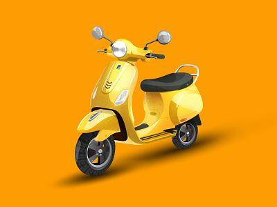 Vespa_ Digital Illustration art abstract realistic trending popular yellow scooter vespa vectorart illustrations