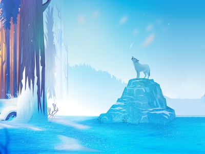 Fox in the Snowfall_ Illustration minimal snow snowfall blue fox creative illustration trending popular