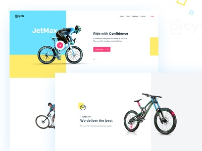 Bicycle_ Landing Page features bicycle pink blue and yellow yellow blue ux buttons landingpage design branding web uiux creative colors ui trending popular