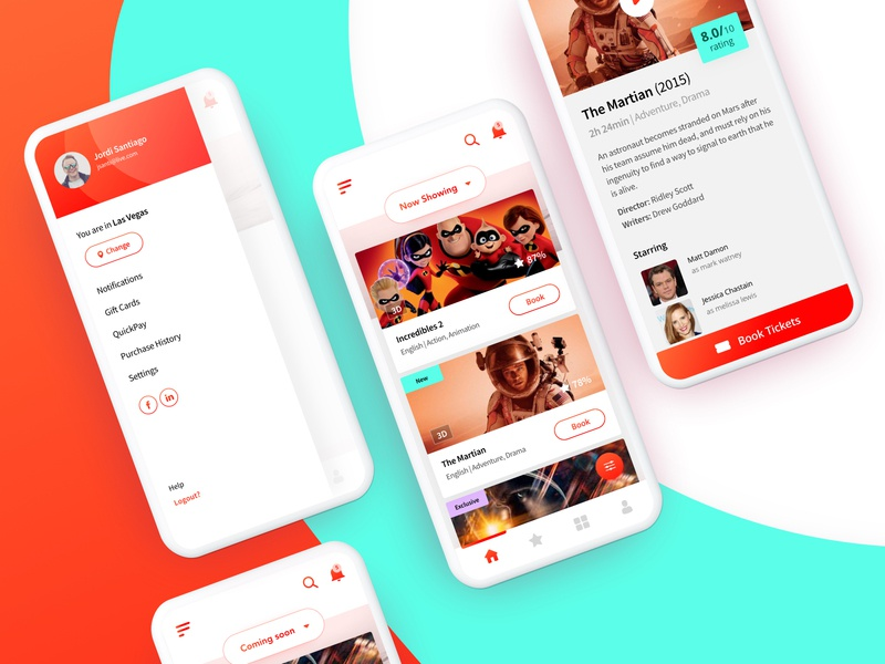 Book a Ticket martian incredibles entertainment buttonstyle ticket movies app mobileappdesign mobileapp green red home landingpage creative ux uiux ui colors trending popular