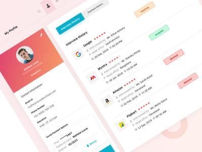 Hiring Platform_ Dashboard Profile UI amazon myntra flipkart google vector trending popular buttons colors uxdesign uiuxdesign ui concept webdesign profile recruiting recruitment job hiring hire me dashboad