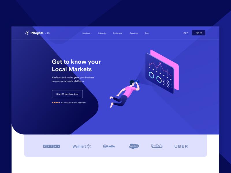 Analytics tool to grow your business google mockups typography minimal interactive branding vector landingpage icons buttons blue web design uiux ui creative illustration trending colors popular