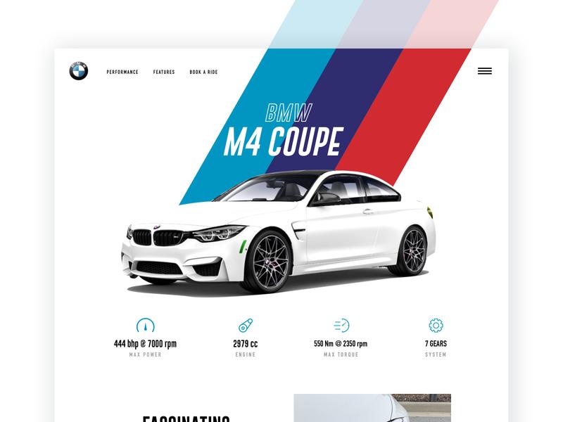Bmw M4 Coupe interactive m4 whitecars cars sports car minimal m4 coupe bmw landingpage typography web blue design ui uiux creative colors trending popular