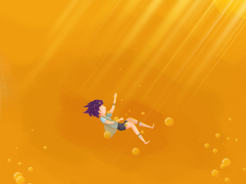 girl in the beer float color paint illustration bubble water light limbs beer girl