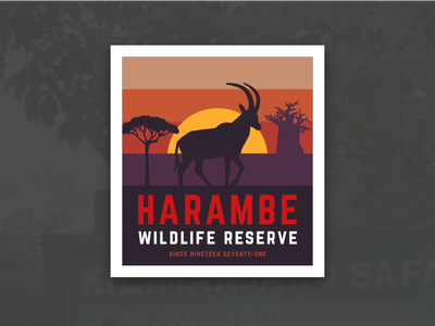 Animal Kingdom Badge – Harambe retro sunset antelope africa safari harambe disneys animal kingdom disney animal kingdom