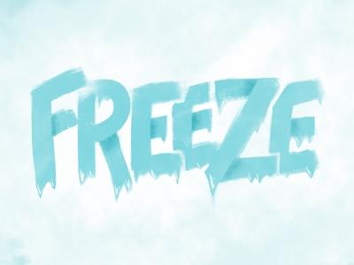 Freeze Logo - Wordmark winter snow frozen texture blue cold ice freeze type typography procreate