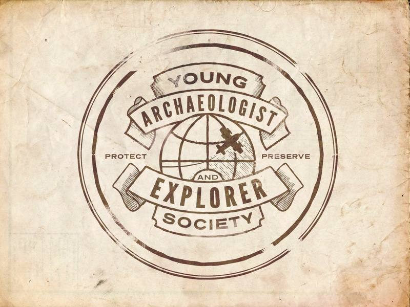 Young Archaeologist and Explorer Society Logo explorer distressed vector badge design icon branding museum science archaeology brand logo