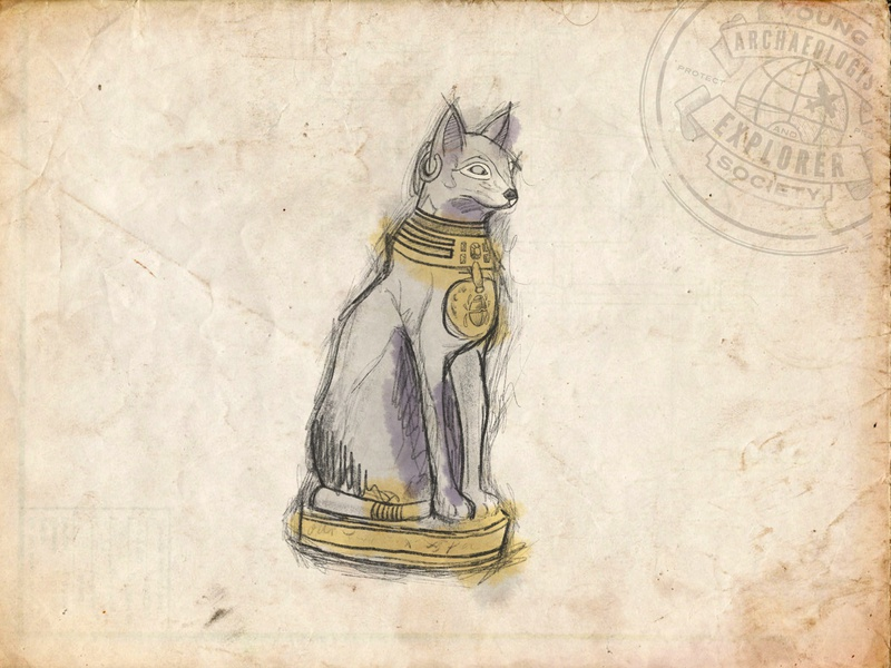Young Archaeologist and Explorer Society - Cat Statue Sketch illustration museum procreate explorer brand archaeology egyptian statue cat inktober sketch
