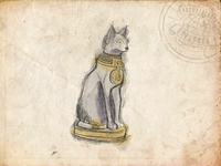 Young Archaeologist and Explorer Society - Cat Statue Sketch