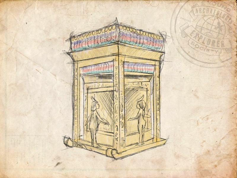 Young Archaeologist and Explorer Society - Shrine Sketch king tut paper gold shrine procreate explorer archaeology museum inktober2018 illustration sketch egyptian