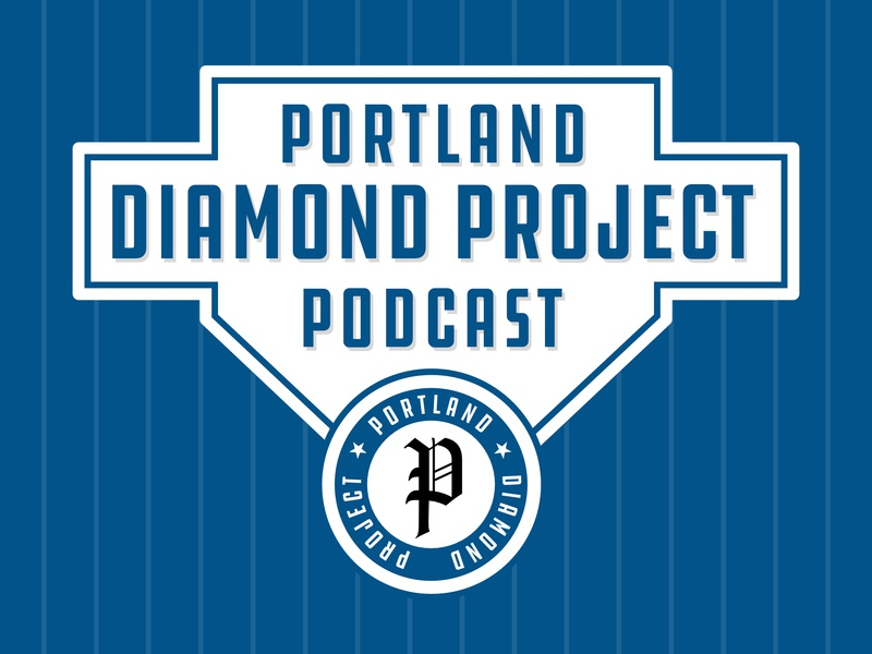 Portland Diamond Project Podcast Art affinity affinity designer vector podcasting pdx portland blue pinstripe baseball logo podcast logo podcast cover podcast art podcast