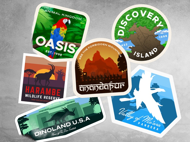 Animal Kingdom Travel Sticker Collection illustration badge vector affinity designer distressed theme park yeti parrot avatar dinosaur earth day sticker art sticker disney world animal kingdom disney