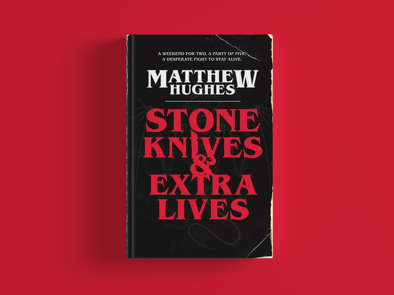 Stone Knives & Extra Lives Cover red stone wales brand horror skeleton knives retro distressed stephen king book cover design book cover cover art cover