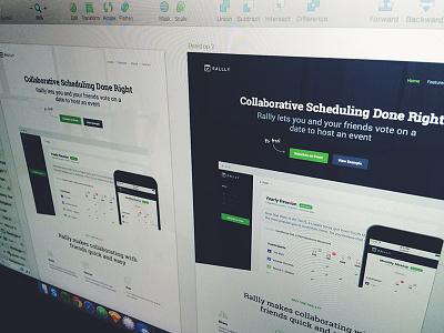 Landing Page - Light/Dark landing page webapp web app rallly light dark
