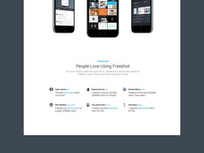 [WIP] Landing Page for Freeshot Dribbble Client web landing testimonials iphone ios app freeshot dribbble client
