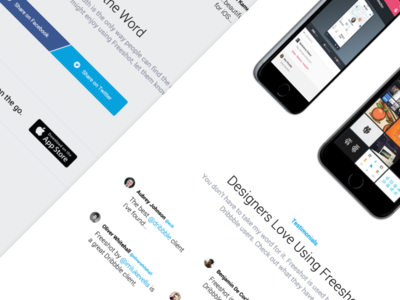 New Landing Page for Freeshot Dribbble Client ios app landing page dribbble client freeshot