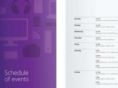 Schedule of events flyer retail promotions typography