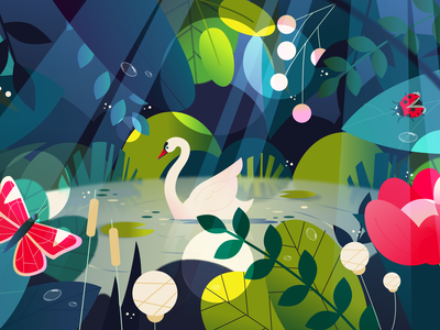 Swan Lake motiongraphics motion design nature adobeillustator vector illustration animation illustrator