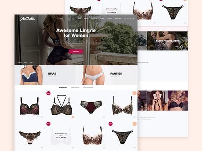 Anthelia template design apply novation clothes wear fashion women lingerie home concept prestashop web