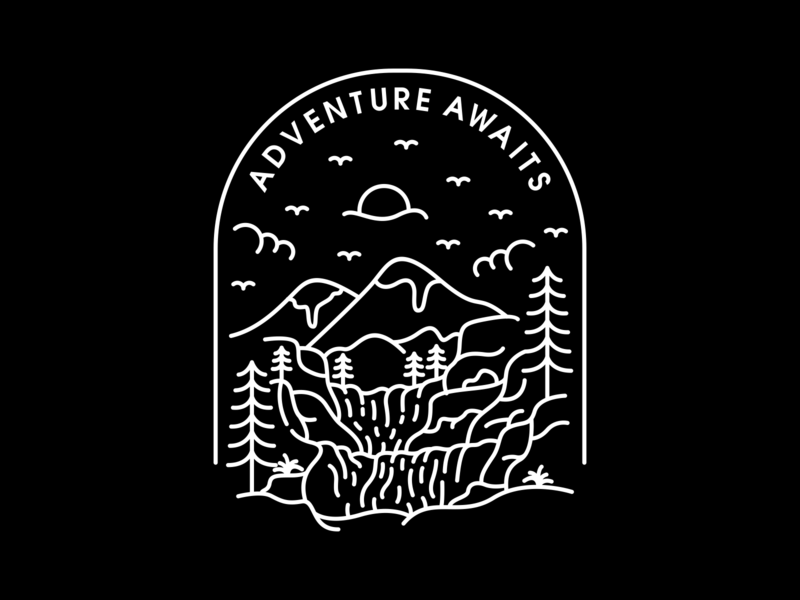 Adventure Awaits outline camping waterfall river mountain travel trip paradise outdoor nature wildlife wild vacation wilderness wanderlust lineart adventure monoline holiday line