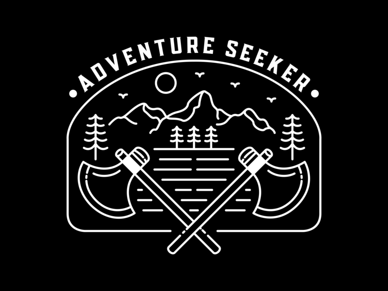 Adventure Seeker paradise trip mountain forest wild life wild axe camping outdoor nature awaits summer vacation holiday travel wanderlust lineart outline monoline adventure