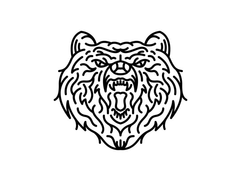 Aggressive Bear roar hunter tiger logo mascot head tattoo lineart line outline monoline dog cat grizzly bear wild life wildlife wild animal animals