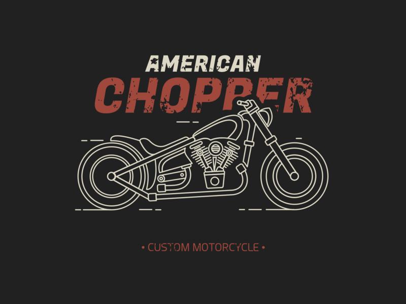 American Chopper outline motorsports motor vehicle garage cafe racer american tshirt shirt apparel retro vintage riders bikers motorbike motorcycle custom bobber chopper monoline