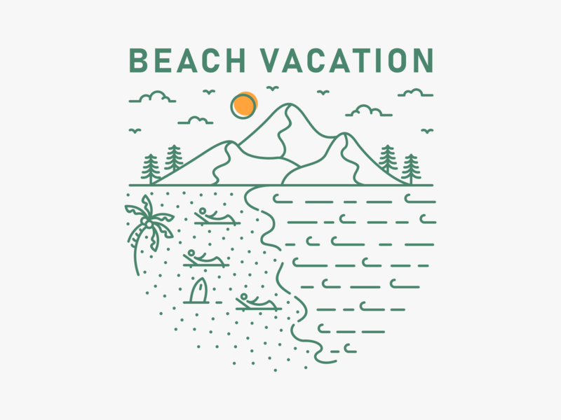 Beach Vacation waves camp camping surf island ocean sea beach surfing summer outdoor wanderlust vacation mountain nature adventure holiday line outline monoline