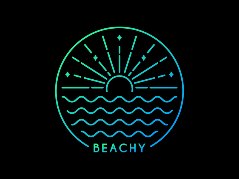 Beachy water camp surf waves sunset sun island ocean sea beach travel camping outdoor summer vacation nature holiday line outline monoline