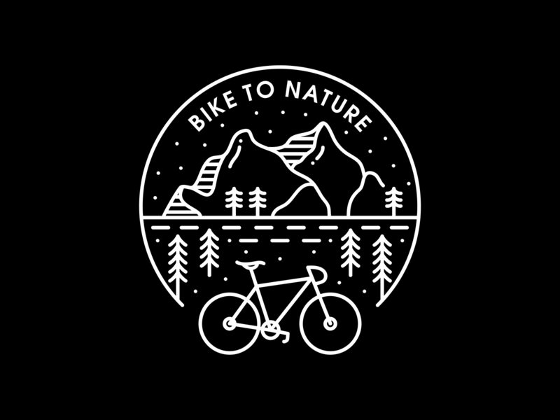 Bike to Nature holiday vacation trip road journey forest downhill adventure cycle ride mountain sport biker nature bicycle bike line art outline line monoline