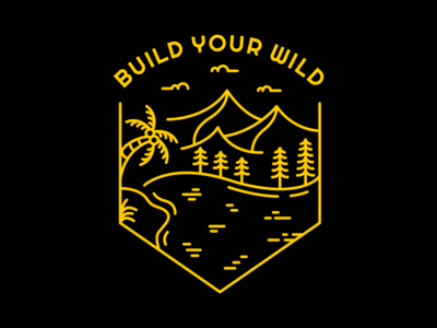 Build Your Wild beach hiking animal jungle tree forest camp wilderness wild life wild outdoor wanderlust mountain vacation nature holiday adventure line outline monoline