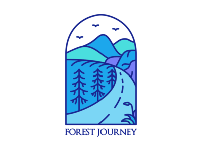 Forest Journey road trees animals journey paradise trip travel wild life wild summer vacation mountain outdoor wanderlust holiday adventure nature line outline monoline