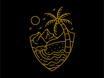 Little Pleasures summertime pleasure island ocean sea beach logo mountain vacation design illustration summer wanderlust outdoor holiday adventure nature line outline monoline