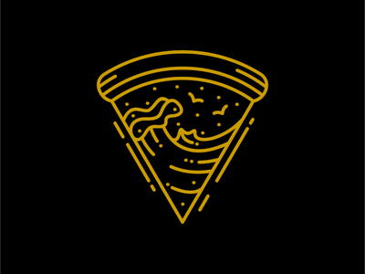 Pizza Waves tropical ocean sea beach surfing italy italian food pizza line art travel vacation summer holiday outdoor adventure nature line outline monoline