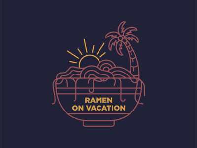 Ramen on Vacation travel surfing beach tropical chinnese japanese ramen noodle food noodle ramen vacation summer wanderlust holiday outdoor adventure nature line outline monoline