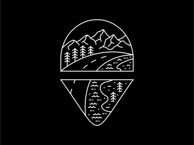 Road to Adventure icon forest camping hiking road tropical tattoo location line art mountain vacation summer wanderlust holiday outdoor adventure nature line outline monoline