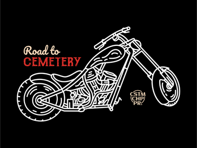 Road to Cemetery cemetery ride race classic retro road vehicle garage bobber chopper bike biker motorbike motor illustration line art adventure line outline monoline