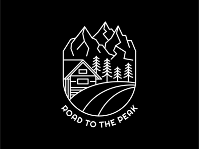Road to The Peak wood pine wildlife forest house travel trip summer camp peak line art wild mountain wanderlust outdoor adventure nature line outline monoline