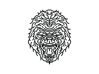Ruthless tiger lion chimp king jungle tattoo ape primate gorilla head character wildlife wild monkey animals animal line art line outline monoline