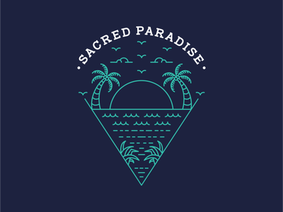 Sacred Paradise travel trip camping tropical surfing ocean sea beach line art mountain vacation summer wanderlust holiday outdoor adventure nature line outline monoline