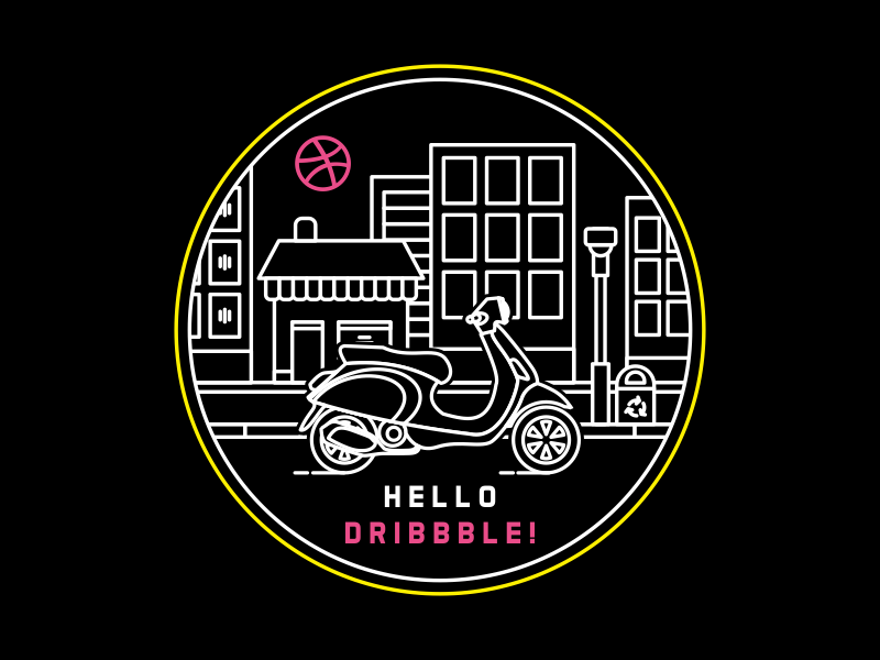 Simple Line Art Vespa Tour in City bike ride night touring tour line art city motorcycle vespa debut