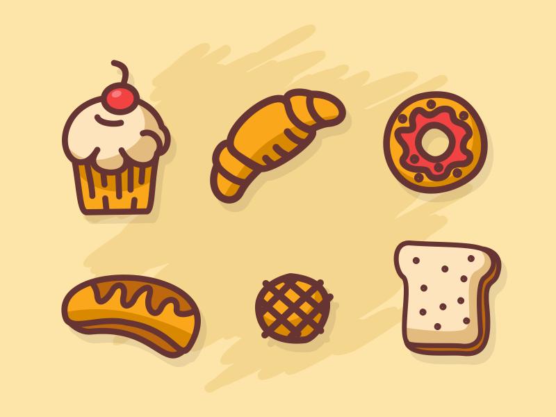 Bread Icons cake vanilla strawberry chocolate butter food breakfast bread
