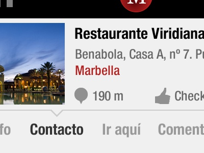 Marbella App Detail iphone app layout interface