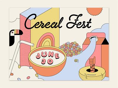 Cereal Fest event festival poster illustration branding cereal