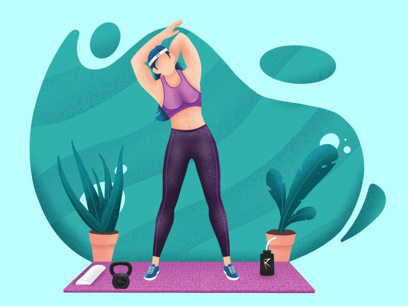 Stretching after workout turquoise green purple pink sport leafs plants kettle bell kettlebell woman illustration woman stretch workout